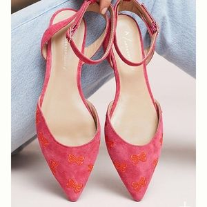 Anthropologie Embroidered Bow Flats